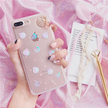 Bling Cameo shell laser Glitter case For iPhone 7 7plus 8 8plus gem pendant TPU phone cases For iphone 6 6s 6plus back cover