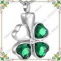 CMJ8315 Suerte cristal verde joyería collar de Trébol de Cuatro hojas forma de cenizas de cremación memorial recuerdo colgante Collar