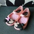 2017 niños Niñas sandalias de la jalea zapatos de Raso arco PVC suela blanda sandalias de los niños zapatos Para La Lluvia 15-18 cm
