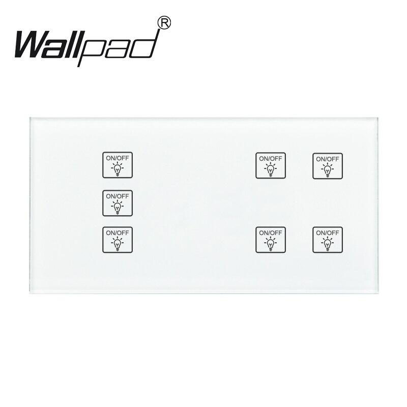 7 Gang 1 voie Wallpad blanc bricolage interrupteur mural lumière tactile, 110-250 V 172*86mm panneau de verre tempérée 4 Gangs + 3 Gang tactile commutateur intelligent