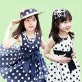 Brand new baby girl vestidos de verano 2017 100% algodón sin mangas sweet dot vestido para las niñas pequeñas ropa del cabrito de la venta caliente vestidos