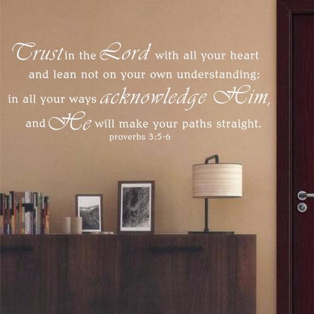 Spreuken Voor Op De Muur.Schrift Muurstickers Vertrouwen In Lord Spreuken 3 5 6 Vinyl Muur