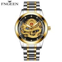 FNGEEN Brand Men Watches Business Quartz Watch Men's Stainless Steel Band 50M Waterproof Wristwatches Oriental Dragon Design