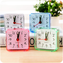 1PC Square Small Bed Alarm Clock Transparent Case Compact Digital Alarm Clock Creative Mini Children Student Desk Table Clock цена в Москве и Питере