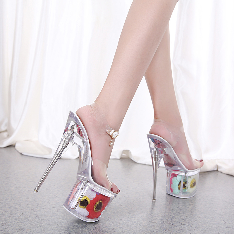 2019 Women Sandals Summer Sun Flower Sexy Crystal Shoes Thin Heels 17cm Transparent Sandals Cool Size 34-43 Wedding Shoes