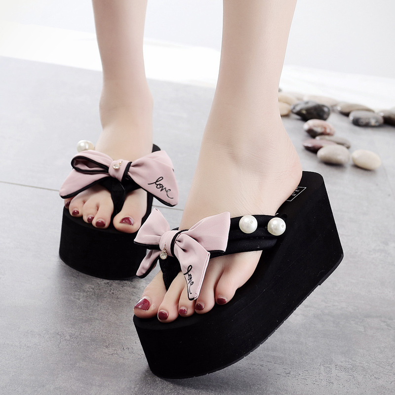 435ae4ec0 Online Shop Sandalias Mujer Big Bow Flip Flops Women High Heels Summer Wedges  Sweet Pink Platform Sandals Flower Beading Slippers 3538