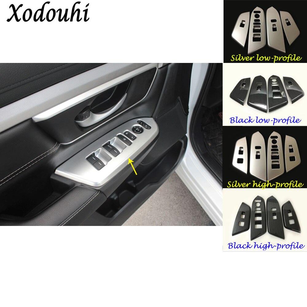 Car styling door Window glass inner panel Armrest Lift Switch Button trim frame panel part 4pcs For Honda CRV CR-V 2017 2018 ветровик rein для honda cr v iii 2006 2012 кроссовер на накладной скотч 3м 4 шт