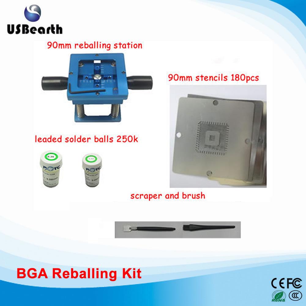 90mm BGA reballing station, 180pcs 90mm BGA stencils 250K solder balls and BGA tool,reballing kit,BGA accessories latest laptop xbox ps3 bga 170pcs template bga kit 90mm for chip reballing