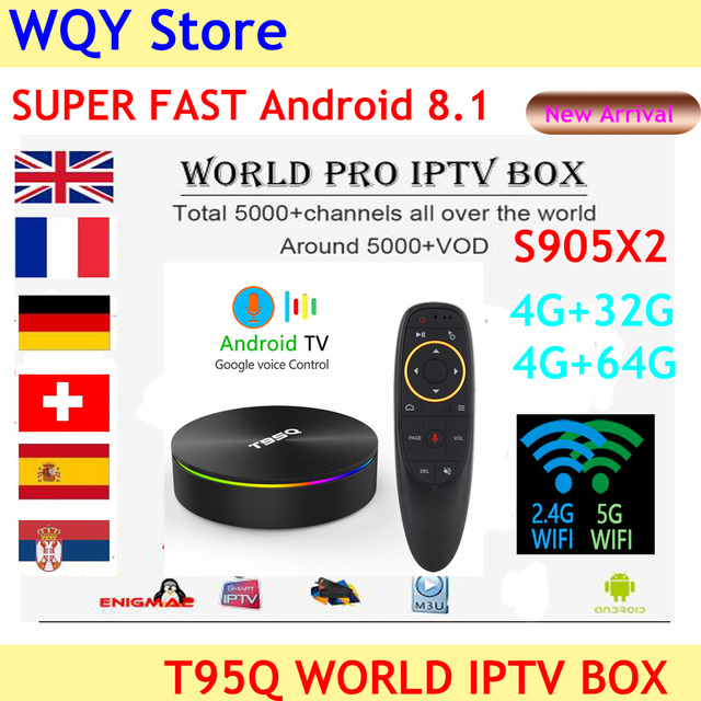 US $54 33 6% OFF|2019 Popular T95Q Android 8 1 TV Box voice remote control  5000+ Channels iptv subscription Italy French spain Polish Aribic UK-in