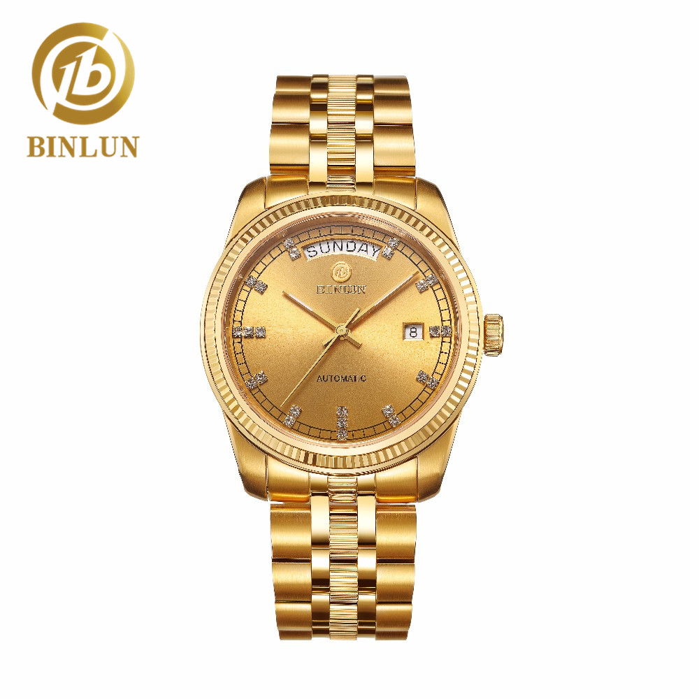 BINLUN Mens 18k Gold Luxury Automatic Watch Gold Waterproof Sapphire Scratch Resistant Business Top Mechanical Mens WristwatchBINLUN Mens 18k Gold Luxury Automatic Watch Gold Waterproof Sapphire Scratch Resistant Business Top Mechanical Mens Wristwatch