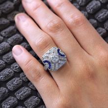 New Vintage Inlaid Blue CZ Rings Square Ring for Women Luxury Fashion Wedding Engagement Ring Jewelry Accessories High Quality newbark new one stacking ring set including 7pcs round rings nondetachable inlaid cz stone classic fashion women jewelry