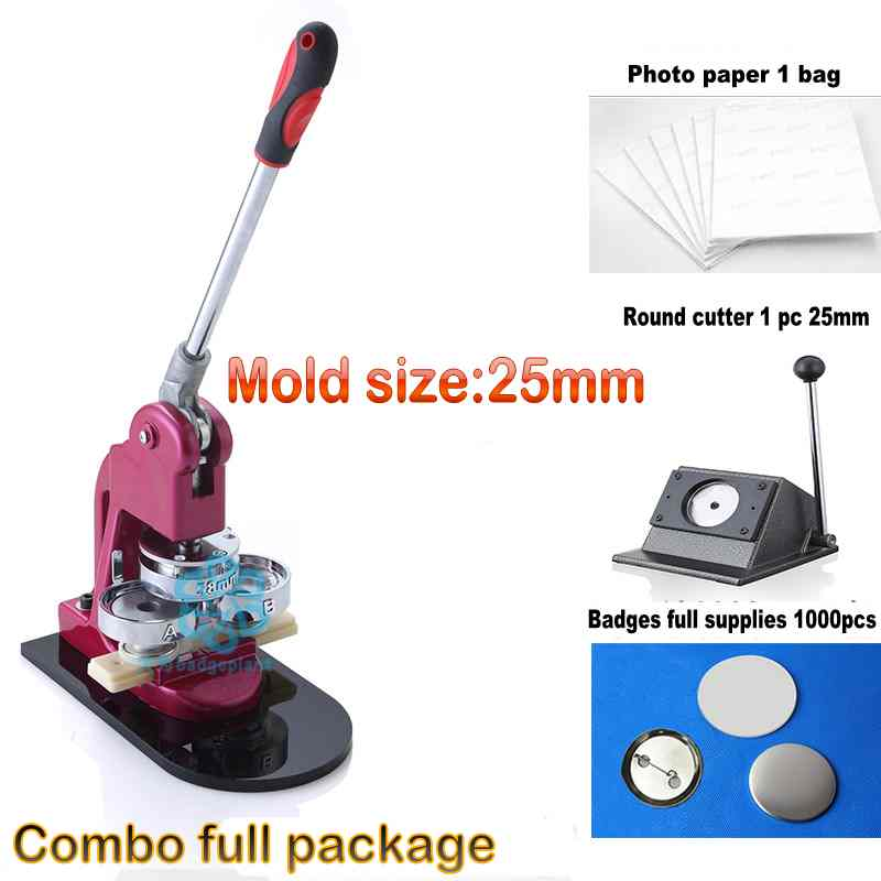 Button maker 25mm Badge Making Machine with Complete Full Package Round Cutter and Full Supplies