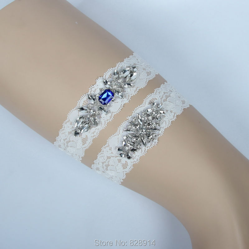 Crystal Wedding Garter: Luxury Crystal Applique Lace Wedding Garter Bride Leg