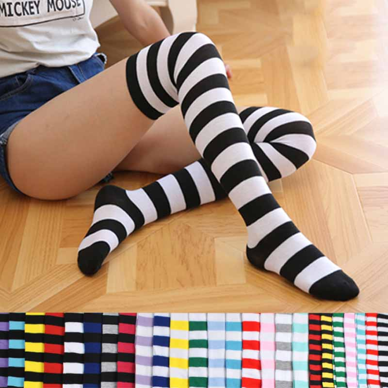 Women Preppy Style Stripe Pattern Stocking Over Knee Sock Fashion Lolita Girls Sailor Suit Warm Cotton Stockings New