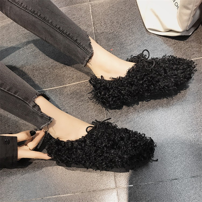 Mulher Donna Sapato Sneakers Black Chaussures Femme Scarpe Coréenne Peluche Sapatos white up Feminino Zapatos brown En Dentelle Mignon Mujer Dames De TS7wxqZw