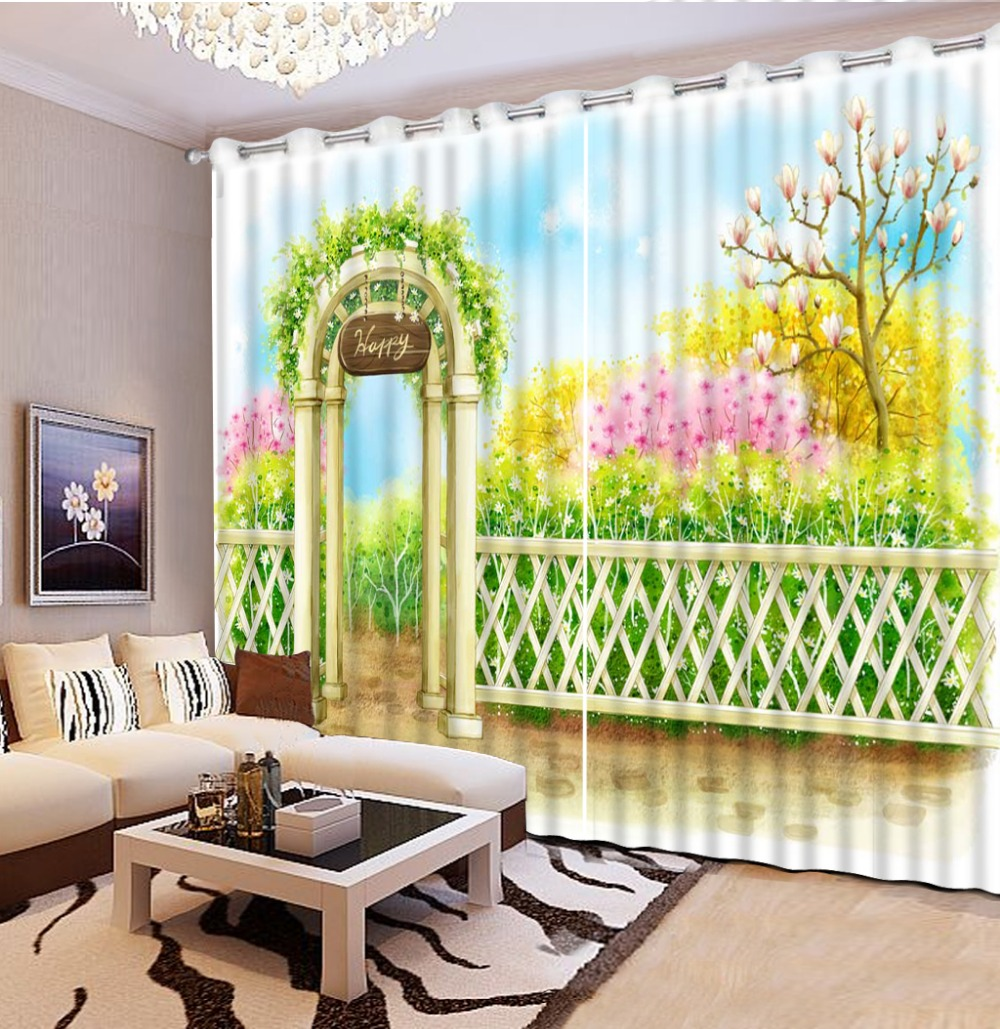 Custom Kitchen Window Curtains European Style Pastoral Luxury Curtains For  Living Room 3d Stereoscopic Modern