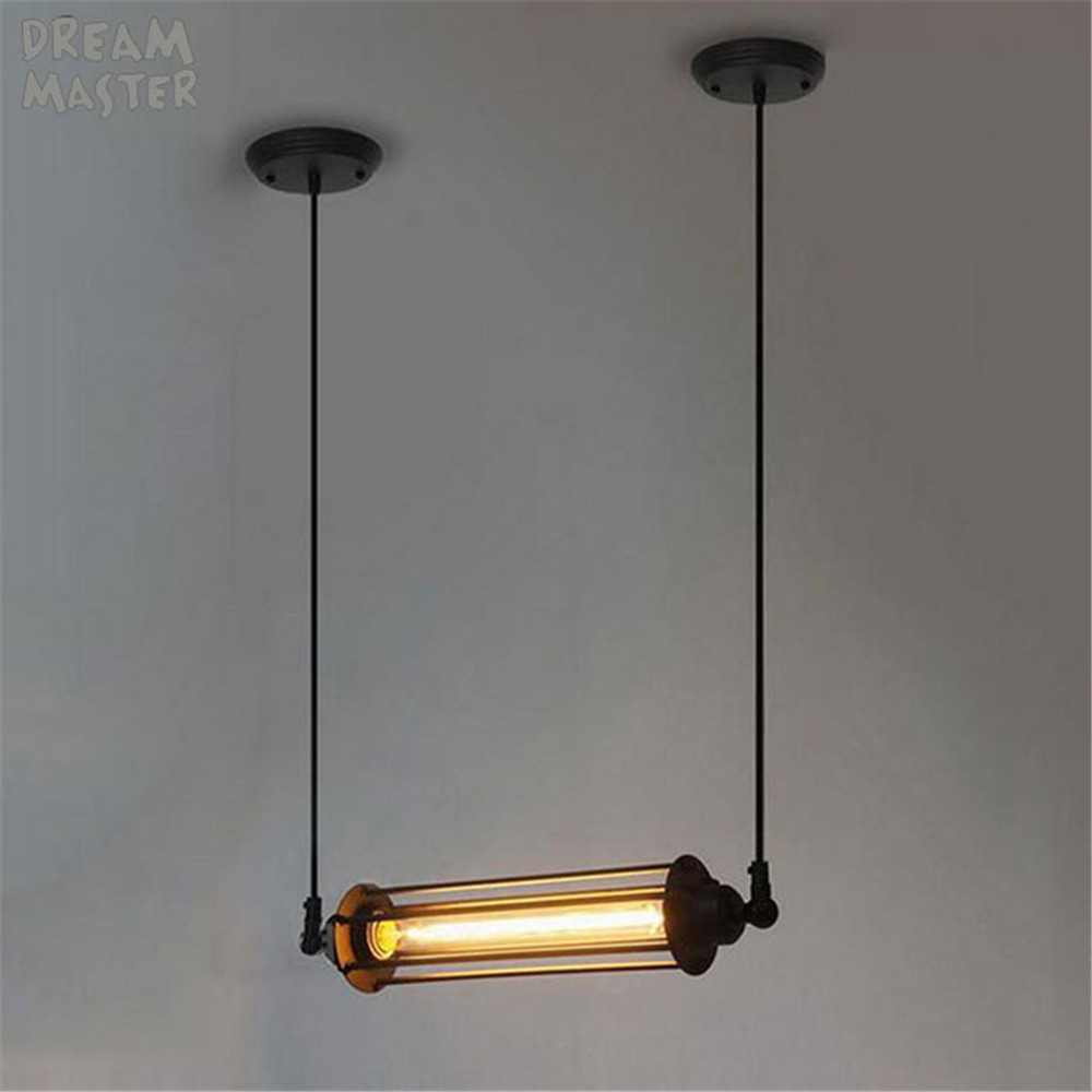 Bulb Included Vintage Pendant Light Industrial Edison Lamp Metal Style With Cage E27 Coffee Bar Restaurant Kitchen Lights edison loft style vintage light industrial retro pendant lamp light e27 iron restaurant bar counter hanging chandeliers lamp