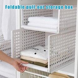 Recém Dobrável Bin Organizador De Armazenamento De Plástico DIY Prateleiras Do Armário para Escritório Cozinha Banheiro