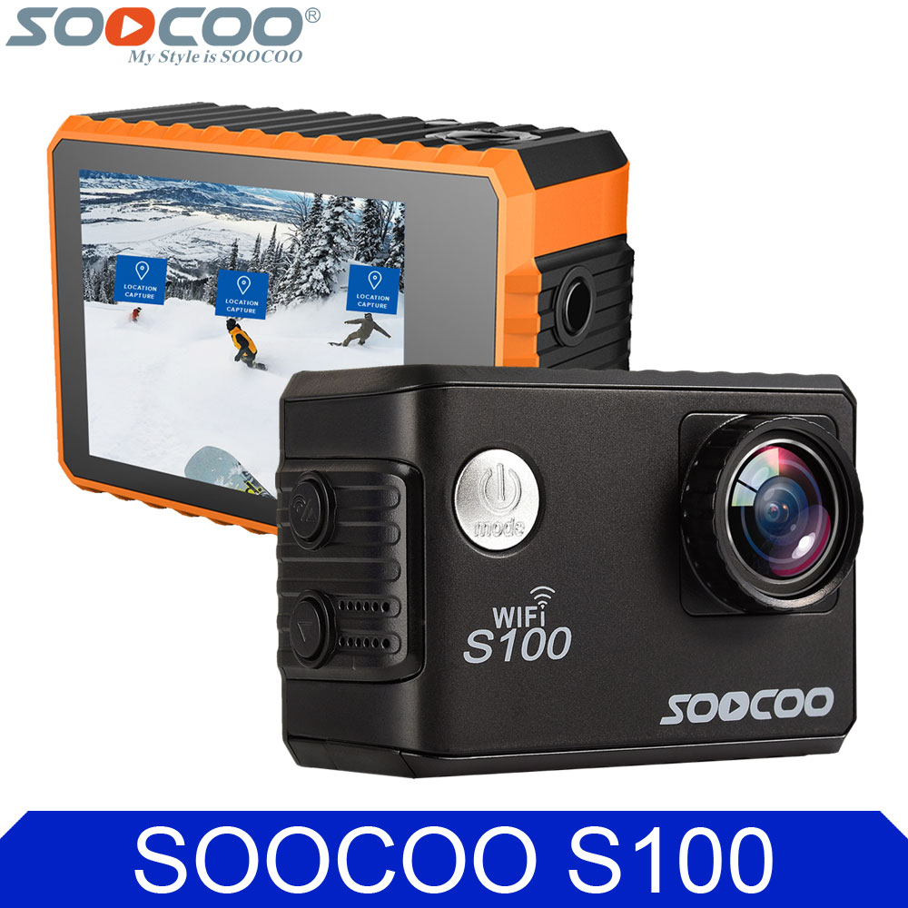 Original SOOCOO S100 4K 24fps 2K 30fps Wifi 20MP Waterproof 30m Gyro Mini Sports Action Camera DV Support Extended GPS Module soocoo c30 sports action camera wifi 4k gyro 2 0 lcd ntk96660 30m waterproof adjustable viewing angles
