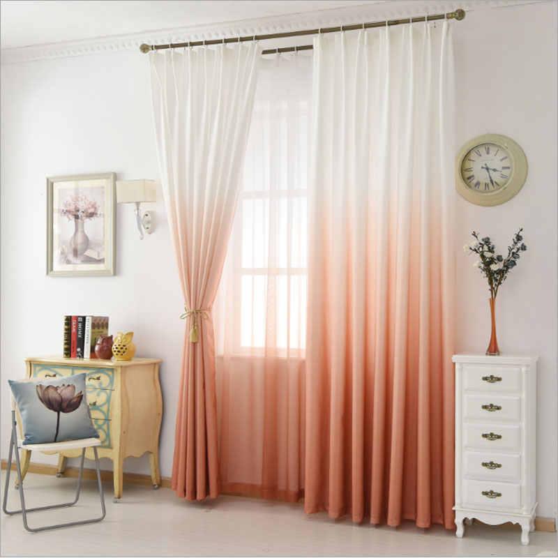 Gradient Color Window Tulle Curtains for Living Room Girls Bedroom Children  Voile Veil Liner Sheer Curtain Panel Custom Size