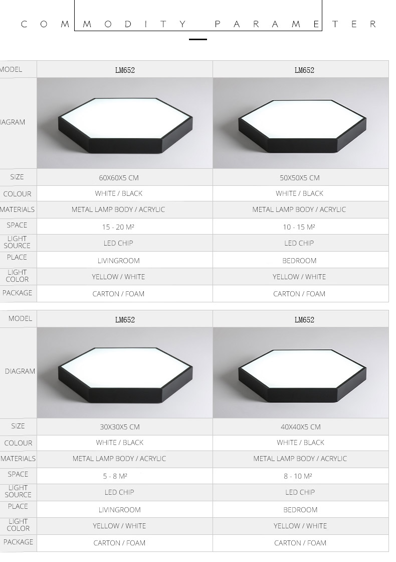 DX Ultra-Thin Hexagon Ceiling Lights (12)