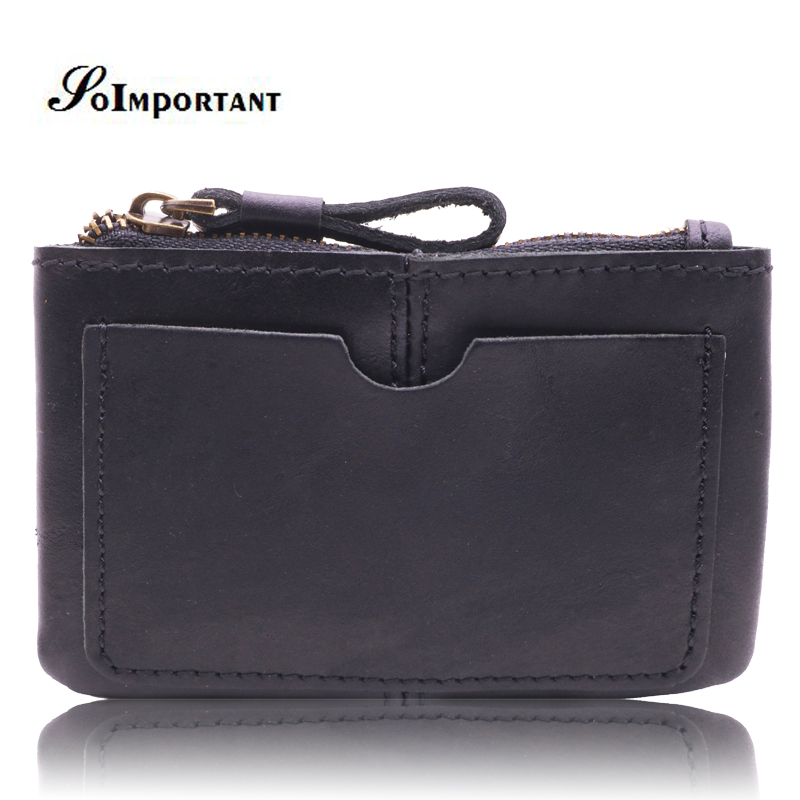 Vintage Genuine Leather Mini Men Wallets Male Small Zipper Coin Purse Slim Card Holder Walet Portomonee Clutch Wallets Carteira