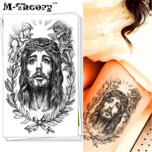M-Theory Temporary 3D Tattoos Body Arts Xmas Jesus Flash Tatoos Stickers Fake Tatto 12x20cm Swimsuit Bikini Dress Makeup