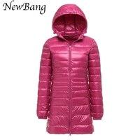 Newbang mujer marca Abrigos de plumas abrigo ultra light Duck Abrigos de plumas chaqueta mujeres más tamaño 6xl otoño invierno con capucha larga Abrigos de plumas CAPA