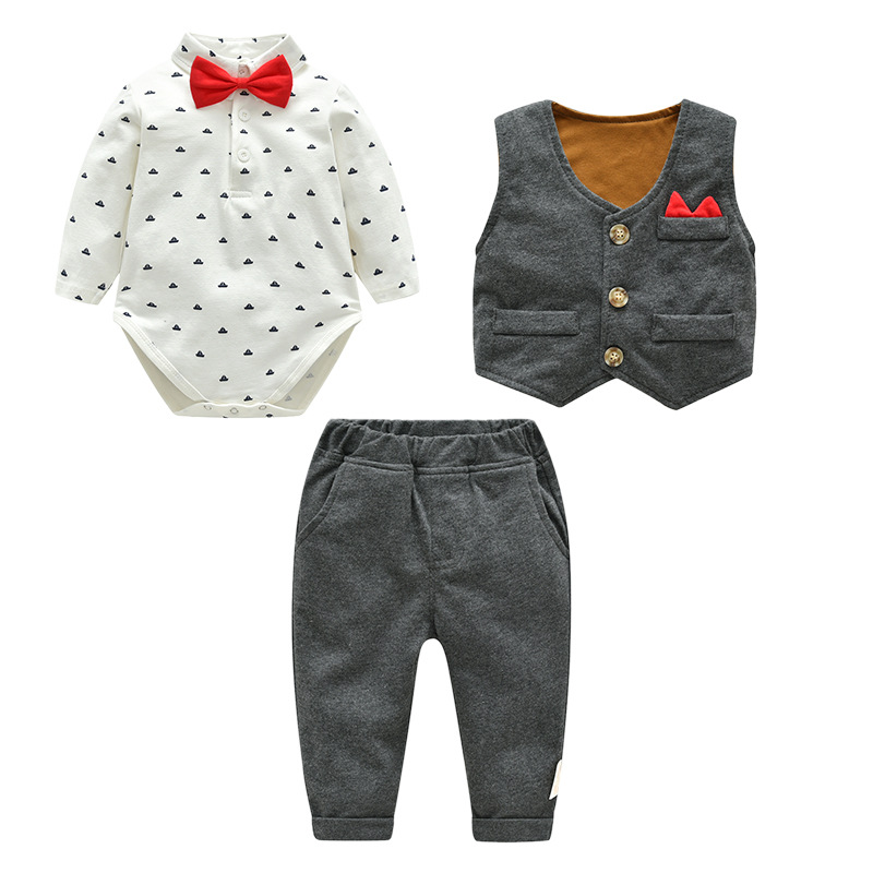 2018 Autumn Cotton Male Baby Gentleman Wearing A Bow Tie Trousers Suit Gift Of The Age New Born Baby Boy Clothing Set Outfit new autumn period and the star of a women s clothing stripe trench coat female suit shorts cultivate morality