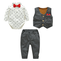 2018 Autumn Cotton Male Baby Gentleman Wearing A Bow Tie Trousers Suit Gift Of The Age New Born Baby Boy Clothing Set Outfit