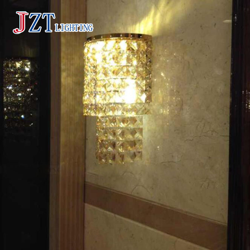 T Luxury Crystal Modern Wall Lamps Aisle Porch Indoor Light With E14 LED Bulbs For Corridor Free Shipping high quality 5050 12v e14 led lamps e14 led bulbs led e14 lamps dc12v e14 led decorative light free shipping 2pcs lot