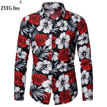 Casual Tops Men's Long Sleeve Shirt Cotton Polyester Blend Turn-Down Collar Shirt Flower Printed Youth Popular Slim Fit Shirt stylish shirt collar slimming flower print long sleeve polyester shirt for men