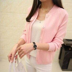 Image 1 - Ohclothing nova primavera summe 2020 feminino malha cardigan camisola casaco curto feminino um pouco xale casaco de malha feminino 12 cores