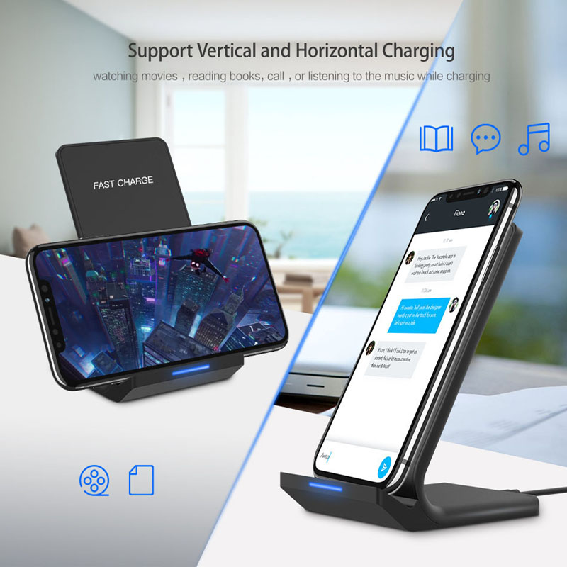 Oppselve 10W Qi Wireless Charger For iPhone X XS Max XR 8 Samsung S9 S8 Note 8 9 Fast Wireless Charging Pad Docking Dock Station in Mobile Phone Chargers from Cellphones Telecommunications