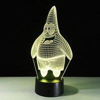 Cartoon SpongeBob Patrick Star Acrylic 3D LED Night Light USB 3D LED Table Lamp