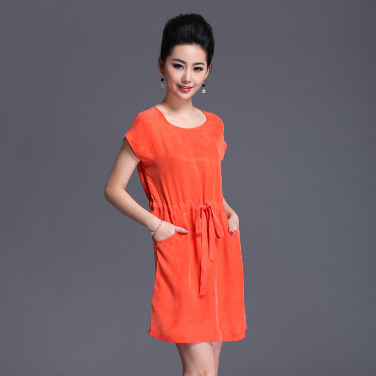 Summer fashion silk cupro heavy silk one-piece dress plus size full dress