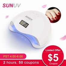 SUNUV SUN5 48 Вт двойной светодио дный УФ светодиодные лампы для ногтей Сушилка Гель лак отверждения свет с S нижней s 30 s/60 s таймер ЖК-дисплей