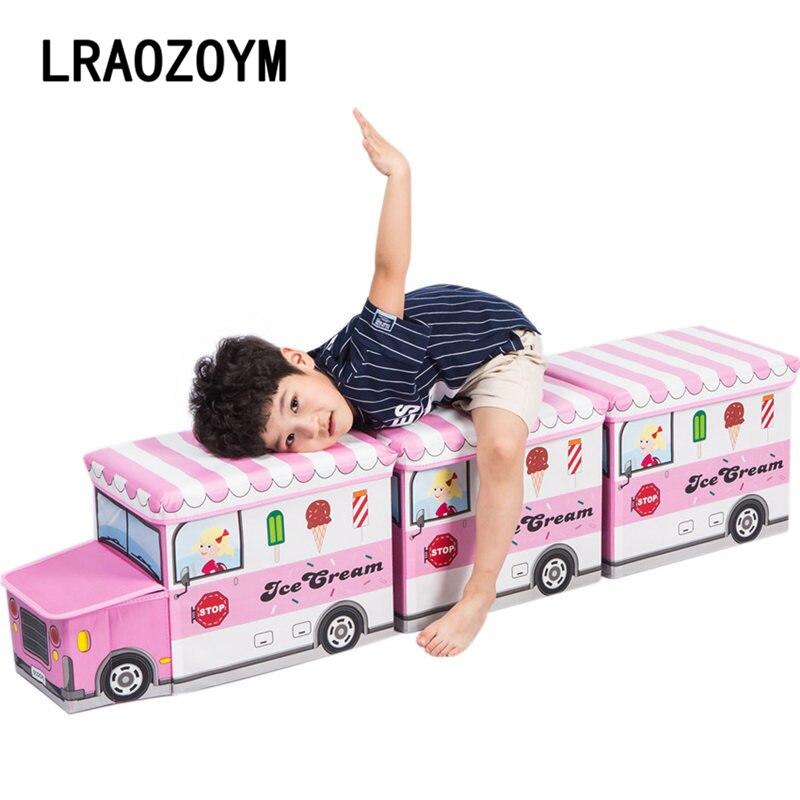 LRAOZOYM boîte de rangement multi-fonction pliant panier non tissé vêtements enfants jouet voiture dessin animé voiture tabouret décoration LR166