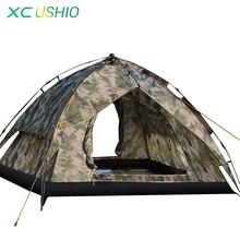 Kaliteli 3-4 kişi Hızlı Açık Otomatik Çadır Çift Katmanlı Yağmur Geçirmez Açık Kamp Balıkçılık Avcılık için Kamuflaj Askeri Çadır