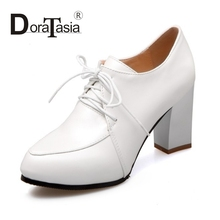 DoraTasia Sexy Super High Thick Heel Pumps For Woman More Colors Lace Up Platform Women Shoes Big Size 34-43 Simple OL Shoes
