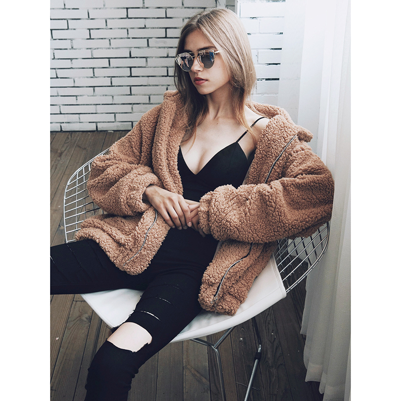 Survêtement Imitation dark beige Femmes Veste brown De Black Femelle Casual Femme Pardessus Fourrure Vestes Surdimensionné 2018 D'hiver Peluche Green Hairly Manteau xFnZSAnqw