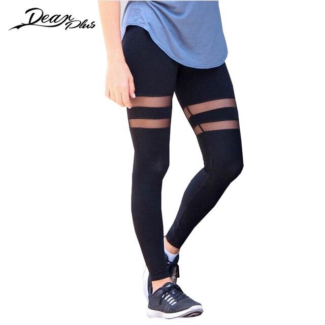 997e73de71 Remiendo de la gasa transparente sexy Baina Leggings mujeres negro stretch  Mediados de cintura lápiz Pantalones