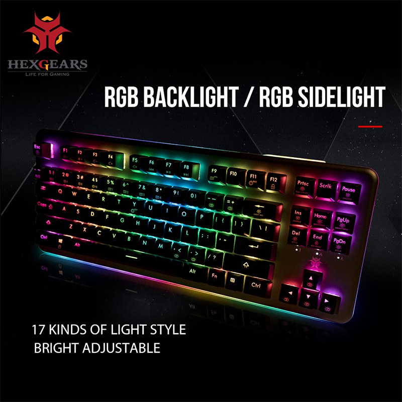 HEXGEARS GK757 Kailh BOX Switch Mechanical Keyboard 87 Key Keyboard PBT Keycap RGB Backlight Mechanical Gaming Keyboard title=