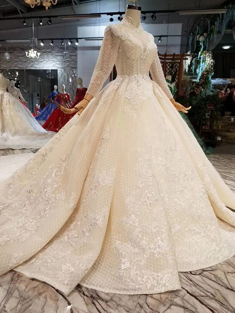 Image 3 - LSS446 long sleeves wedding dresses high neck open keyhole back wedding gowns lace appliques see through bridal wedding dressWedding Dresses   -