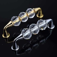 96mm Modern Fashion Deluxe Glass Crystal Furniture Handles Silver Golden Win Cabinet Drawer Pull Knob Villadom