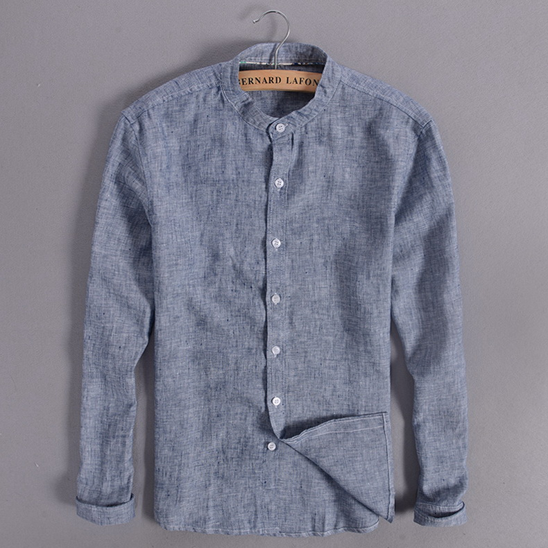 Sky blue linen shirt men summer long sleeve casual men shirts slim breathable shirt mens brand clothing mens shirts chemise 3XL 7