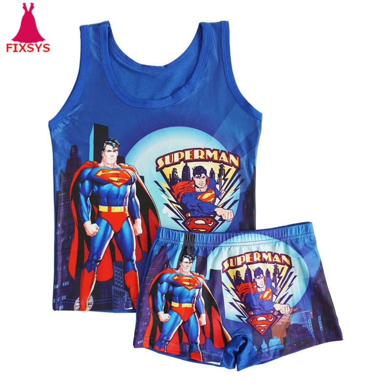 New Kids Boy   Pajamas   Suit Summer Pijama Superman Cartoon Baby Boys Sleepwear Vest Suit Children Pyjamas Clothes Homewear 2T-6T