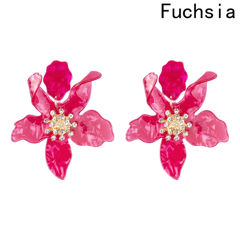 Fashion Resin Acrylic Rhinestone Flower Big Earrings Jewellery For Drop Shipping Wholesale 7 Colors ...