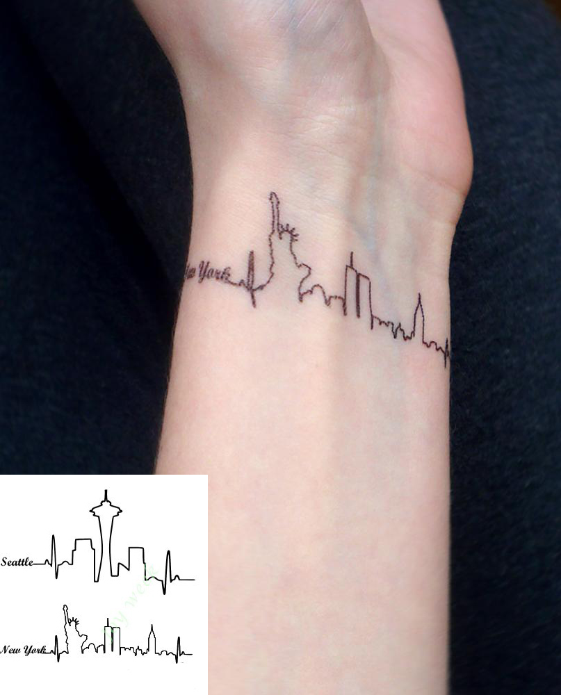 Waterproof temporary tattoo sticker seattle new york for Large letter temporary tattoos