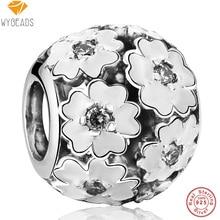 Wybeads 925 cuentas de plata esterlina primrose circón joyería que hace encantos de bolas de ajuste pulsera brazalete de esmalte blanco original